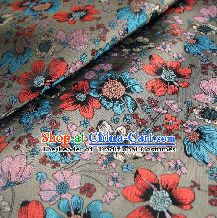 Chinese Traditional Royal Palace Pattern Design Grey Brocade Fabric Ancient Costume Tang Suit Cheongsam Hanfu Material