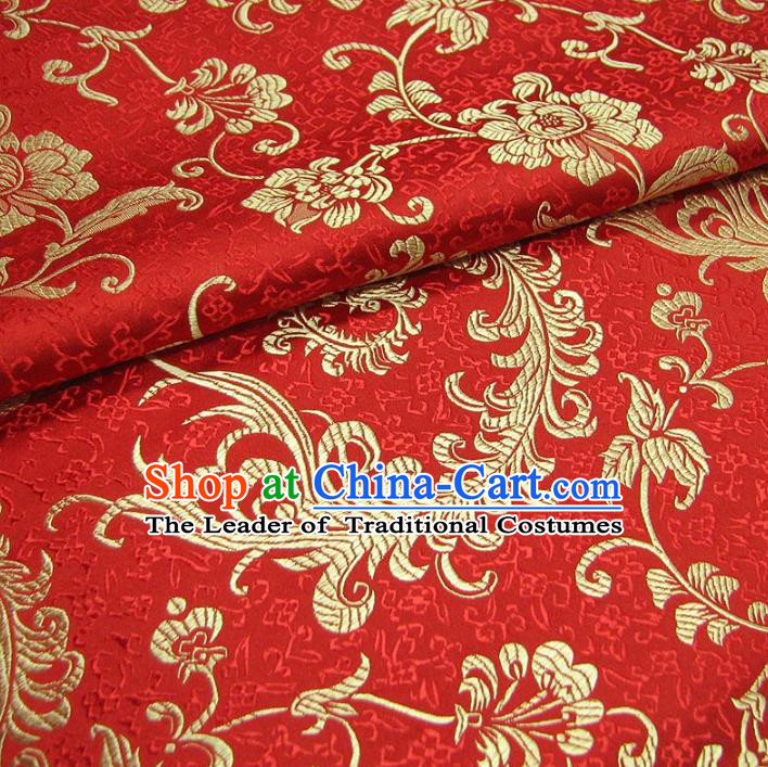Chinese Traditional Royal Palace Pteris Pattern Design Red Brocade Fabric Ancient Costume Tang Suit Cheongsam Hanfu Material