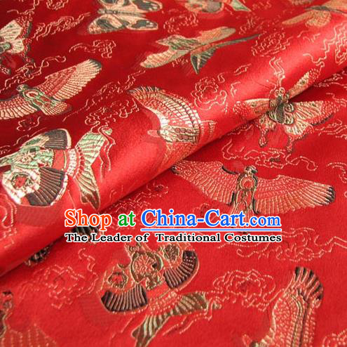 Chinese Traditional Royal Palace Kite Pattern Design Red Brocade Fabric Ancient Costume Tang Suit Cheongsam Hanfu Material