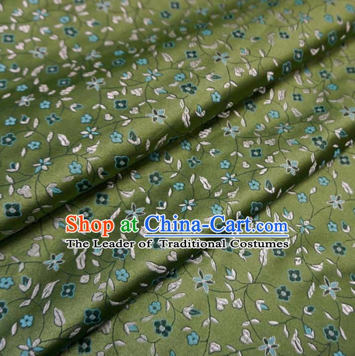 Chinese Traditional Royal Palace Flowers Pattern Design Green Brocade Fabric Ancient Costume Tang Suit Cheongsam Hanfu Material