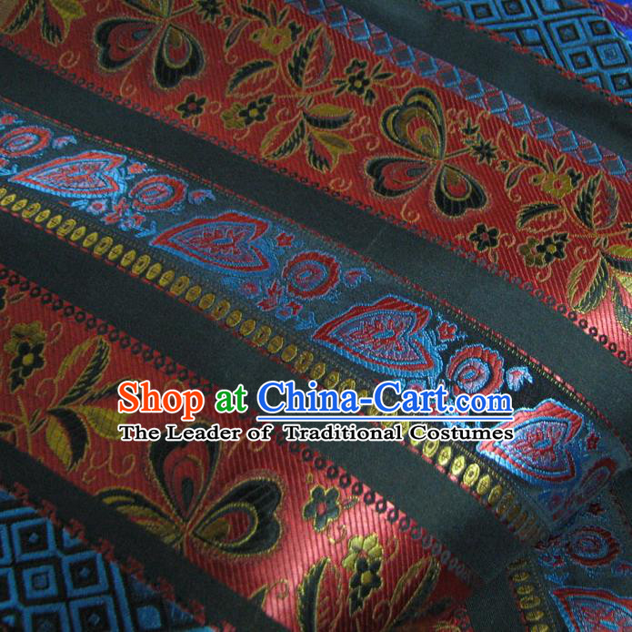 Chinese Traditional Royal Palace Pattern Design Mongolian Robe Black Brocade Fabric Ancient Costume Tang Suit Cheongsam Hanfu Material
