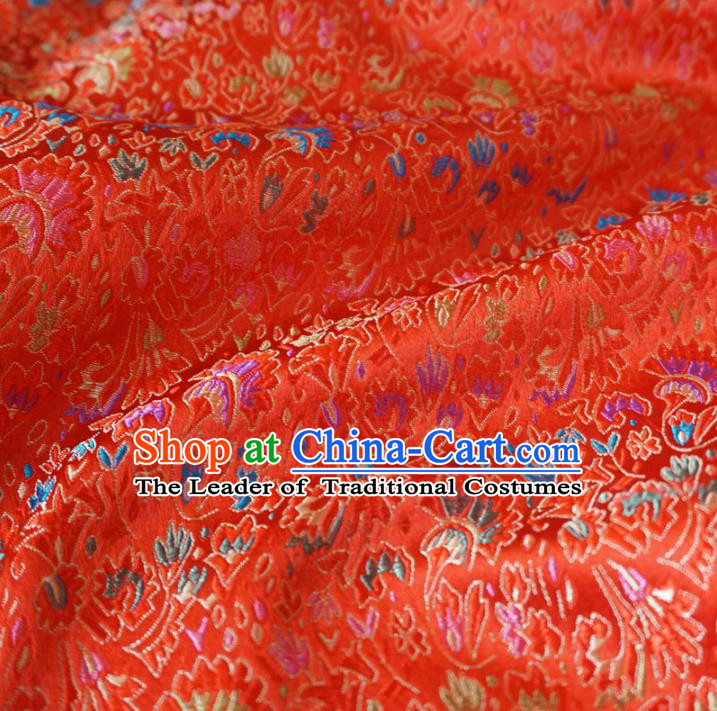 Chinese Traditional Royal Palace Pattern Design Red Brocade Xiuhe Suit Fabric Ancient Costume Tang Suit Cheongsam Hanfu Material
