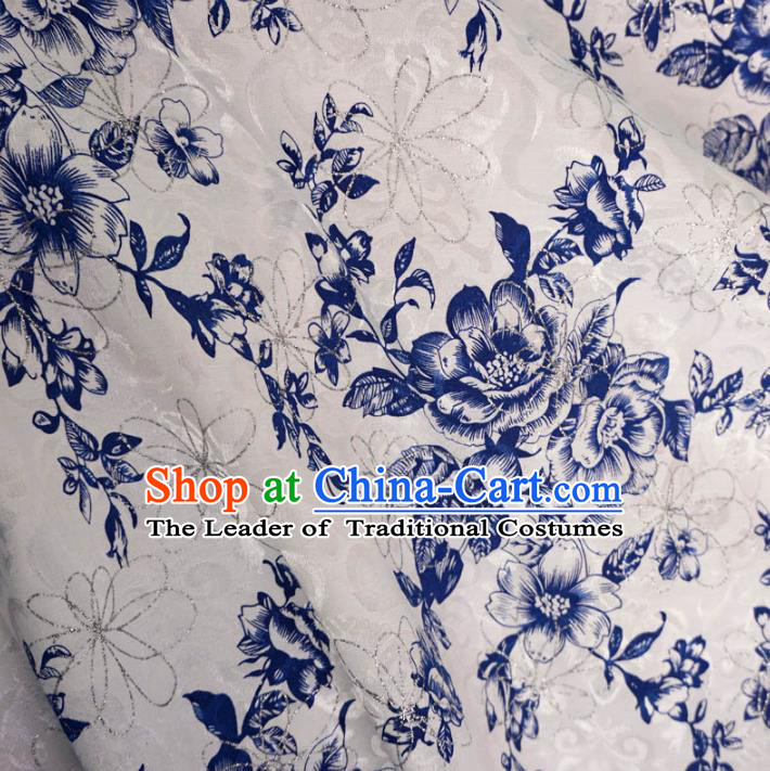 Chinese Traditional Royal Palace Blue Peony Pattern Design White Brocade Fabric Ancient Costume Tang Suit Cheongsam Hanfu Material