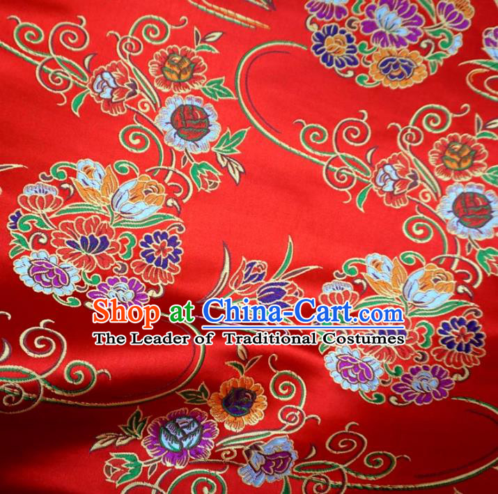 Chinese Traditional Royal Palace Lotus Pattern Design Red Brocade Xiuhe Suit Fabric Ancient Costume Tang Suit Cheongsam Hanfu Material