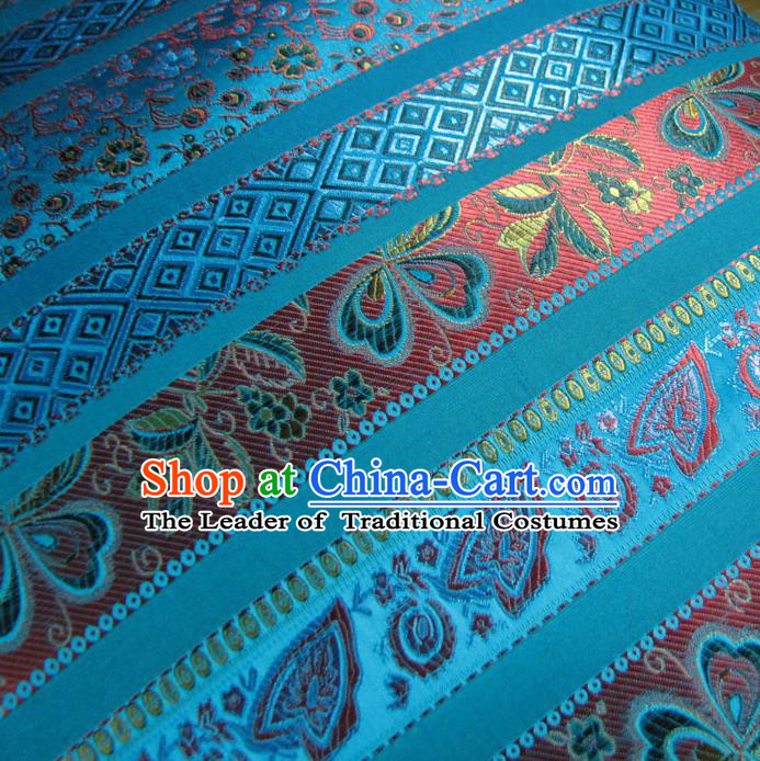 Chinese Traditional Royal Palace Pattern Design Mongolian Robe Blue Brocade Fabric Ancient Costume Tang Suit Cheongsam Hanfu Material