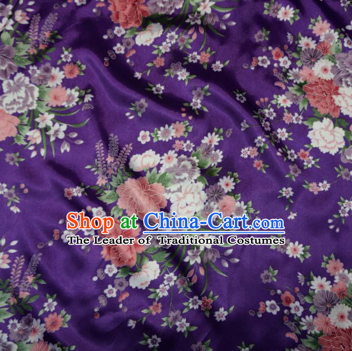 Chinese Traditional Royal Palace Peony Pattern Design Purple Brocade Fabric Ancient Costume Tang Suit Cheongsam Hanfu Material