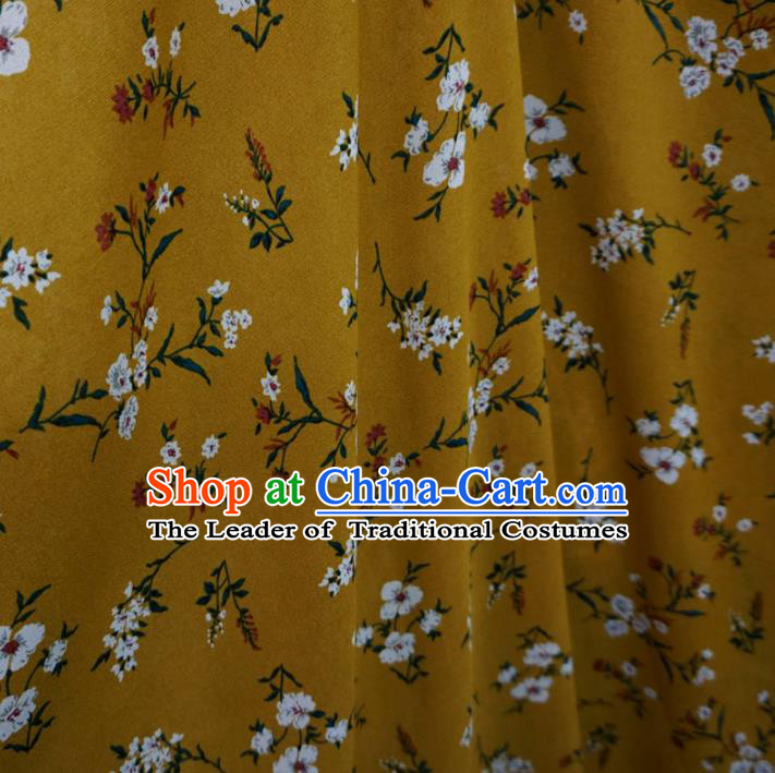 Chinese Traditional Royal Palace Pattern Design Yellow Brocade Fabric Ancient Costume Tang Suit Cheongsam Hanfu Material