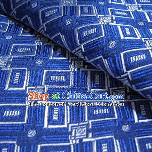 Chinese Traditional Royal Palace Pattern Design Blue Brocade Fabric Ancient Costume Tang Suit Cheongsam Hanfu Material