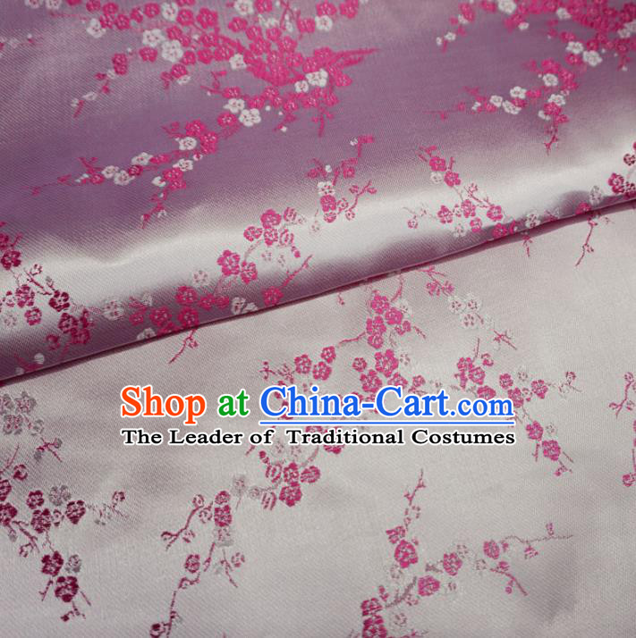 Chinese Traditional Royal Palace Wintersweet Pattern Design Pink Brocade Mongolian Robe Fabric Ancient Costume Tang Suit Cheongsam Hanfu Material