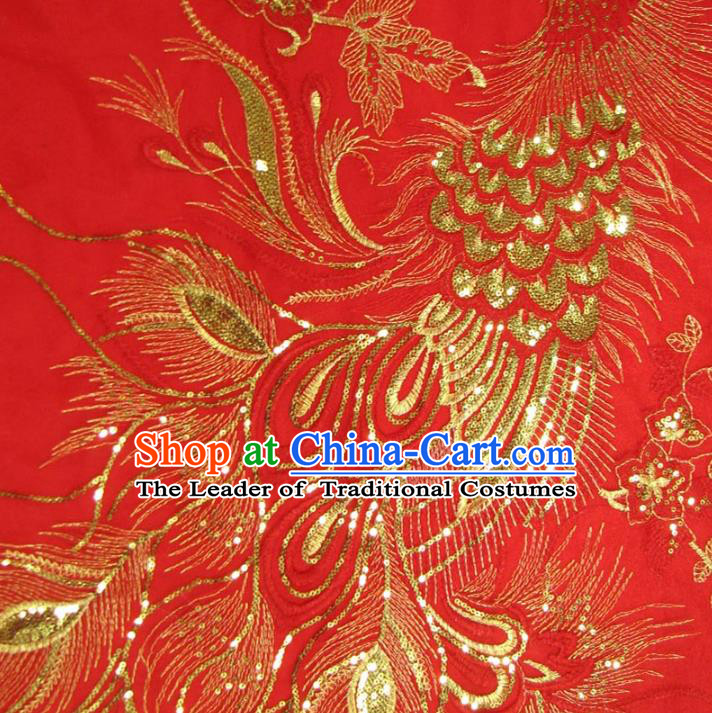 Chinese Traditional Royal Palace Phoenix Pattern Design Red Brocade Fabric Ancient Costume Tang Suit Cheongsam Hanfu Material