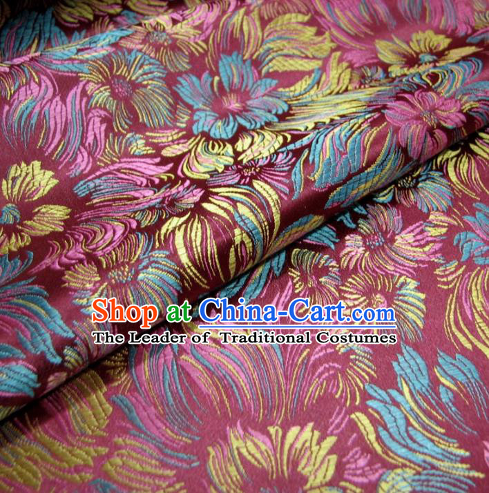 Chinese Traditional Royal Palace Flowers Pattern Design Pink Brocade Fabric Ancient Costume Tang Suit Cheongsam Hanfu Material