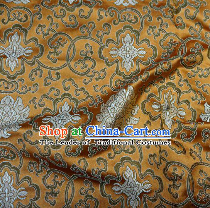 Chinese Traditional Royal Palace Pattern Design Bronze Brocade Mongolian Robe Fabric Ancient Costume Tang Suit Cheongsam Hanfu Material