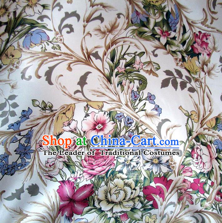 Chinese Traditional Royal Palace Printing Flowers White Brocade Mongolian Robe Fabric Ancient Costume Tang Suit Cheongsam Hanfu Material