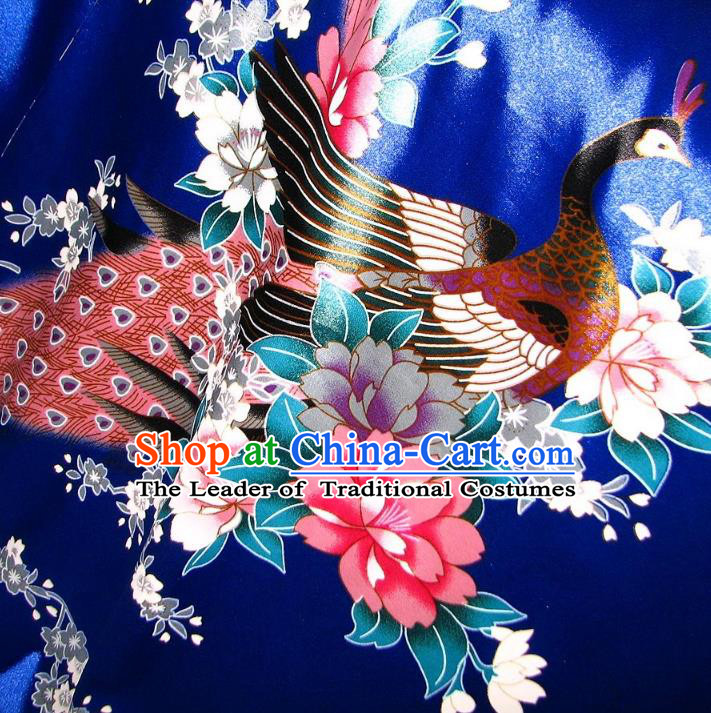 Chinese Traditional Royal Palace Printing Peacock Blue Brocade Fabric Ancient Costume Tang Suit Cheongsam Hanfu Material