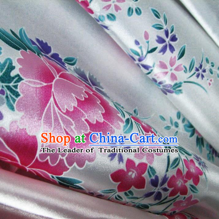 Chinese Traditional Royal Palace Peony Pattern Design White Brocade Fabric Ancient Costume Tang Suit Cheongsam Hanfu Material