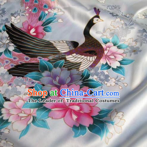 Chinese Traditional Royal Palace Peacock Pattern Design White Brocade Fabric Ancient Costume Tang Suit Cheongsam Hanfu Material