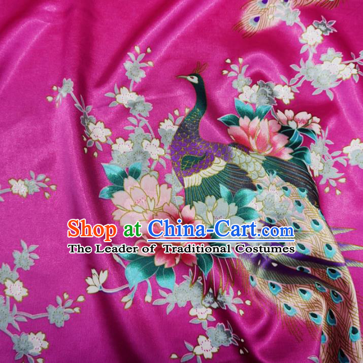 Chinese Traditional Royal Palace Peacock Pattern Design Rosy Brocade Fabric Ancient Costume Tang Suit Cheongsam Hanfu Material