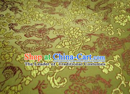 Chinese Traditional Royal Palace Dragons Pattern Design Yellow Brocade Fabric Ancient Costume Tang Suit Cheongsam Hanfu Material