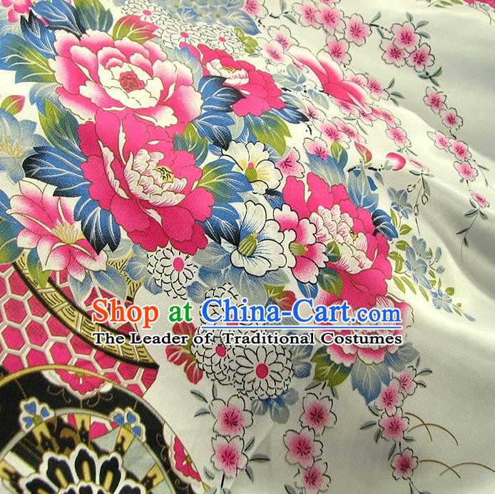 Chinese Traditional Royal Palace Printing Peony Design White Brocade Fabric Ancient Costume Tang Suit Cheongsam Hanfu Material