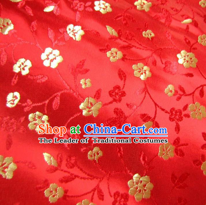 Chinese Traditional Royal Palace Flowers Pattern Design Red Brocade Fabric Ancient Costume Tang Suit Cheongsam Hanfu Material