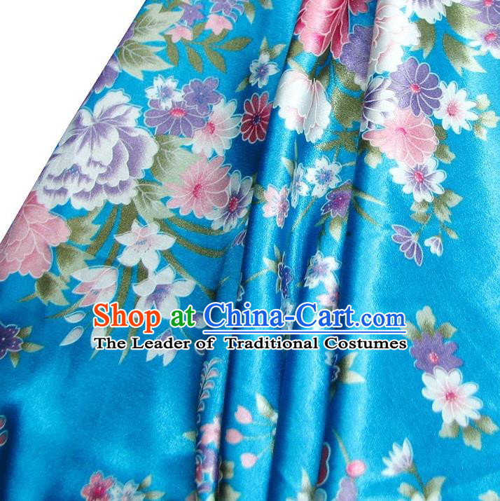 Chinese Traditional Royal Palace Printing Flowers Design Hanfu Blue Brocade Fabric Ancient Costume Tang Suit Cheongsam Material