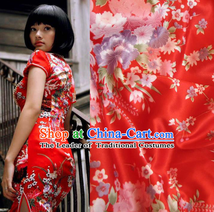 Chinese Traditional Royal Palace Printing Flowers Design Hanfu Red Brocade Fabric Ancient Costume Tang Suit Cheongsam Material