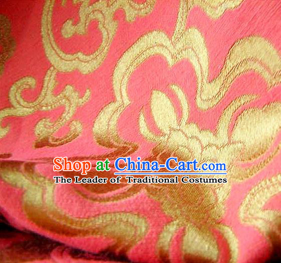 Chinese Traditional Royal Palace Pattern Design Hanfu Pink Brocade Fabric Ancient Costume Tang Suit Cheongsam Material