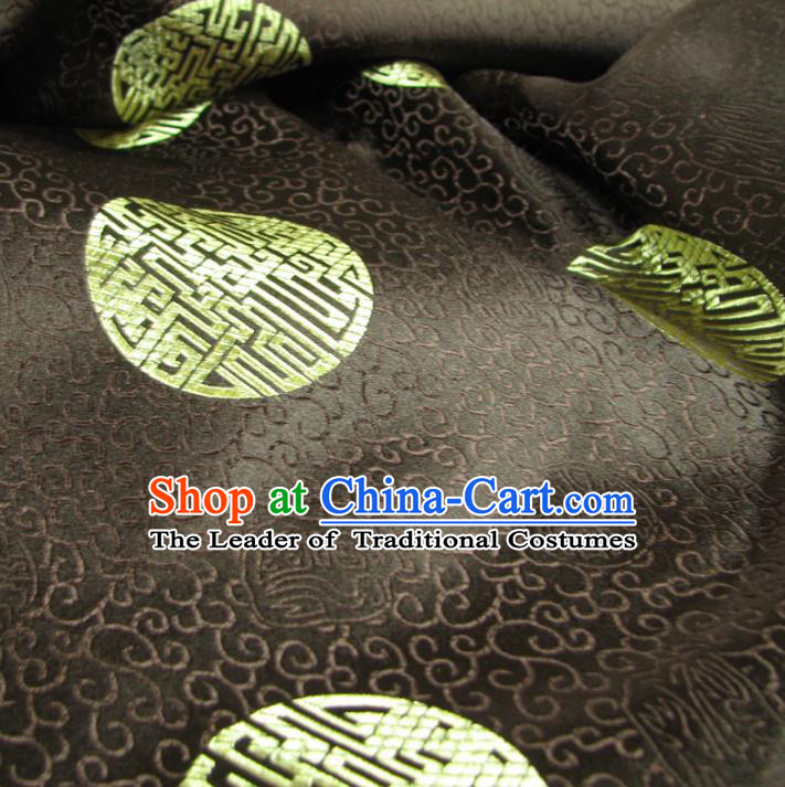 Chinese Traditional Royal Palace Pattern Design Hanfu Brown Brocade Mongolian Robe Fabric Ancient Costume Tang Suit Cheongsam Material