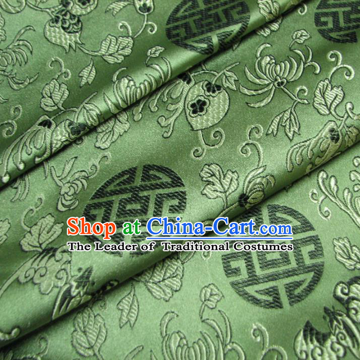 Chinese Traditional Royal Palace Auspicious Pattern Design Hanfu Green Brocade Fabric Ancient Costume Tang Suit Cheongsam Material