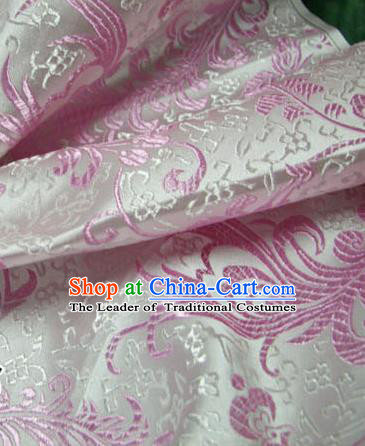 Chinese Traditional Royal Palace Pink Ombre Flowers Pattern Design Hanfu Brocade Fabric Ancient Costume Tang Suit Cheongsam Material