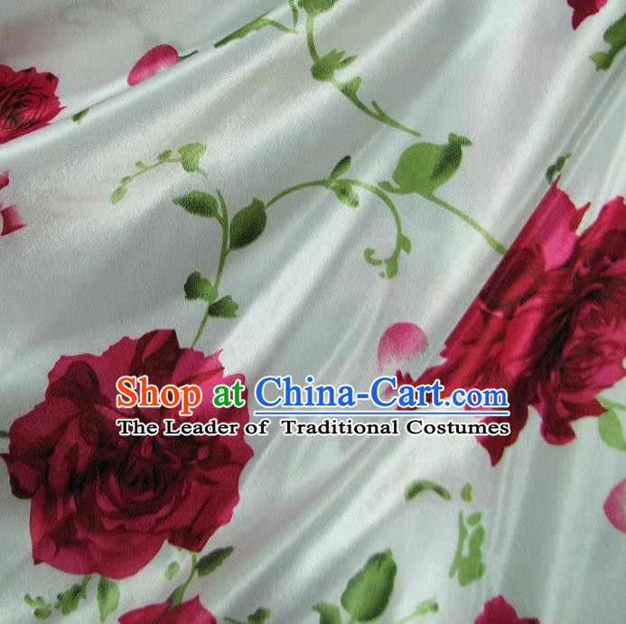 Chinese Traditional Royal Palace Printing Rose Design Hanfu Brocade Fabric Ancient Costume Tang Suit Cheongsam Material