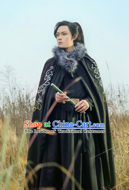 Traditional Chinese Ming Dynasty Swordsman Hanfu Costume Embroidered Cloak for Men