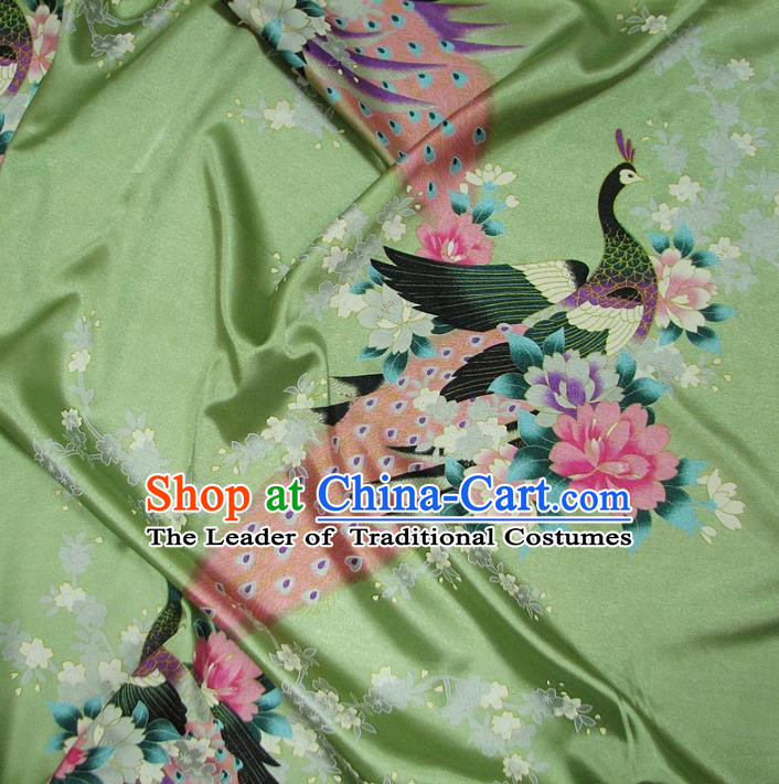 Chinese Traditional Palace Printing Peacock Hanfu Green Brocade Fabric Ancient Costume Tang Suit Cheongsam Material