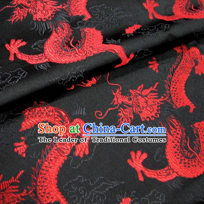 Chinese Traditional Palace Dragons Pattern Hanfu Black Brocade Mongolian Robe Fabric Ancient Costume Tang Suit Cheongsam Material