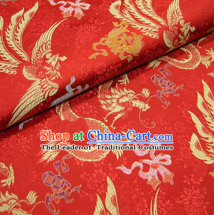 Chinese Traditional Palace Dragons Pattern Hanfu Red Brocade Mongolian Robe Fabric Ancient Costume Tang Suit Cheongsam Material