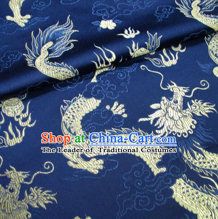 Chinese Traditional Palace Dragons Pattern Hanfu Navy Brocade Mongolian Robe Fabric Ancient Costume Tang Suit Cheongsam Material