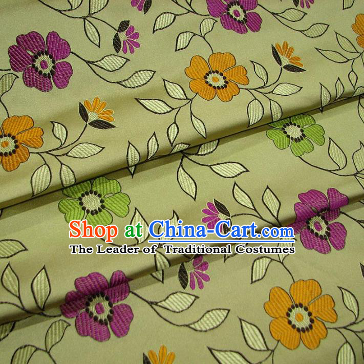 Chinese Traditional Palace Flowers Pattern Hanfu Yellow Brocade Mongolian Robe Fabric Ancient Costume Tang Suit Cheongsam Material