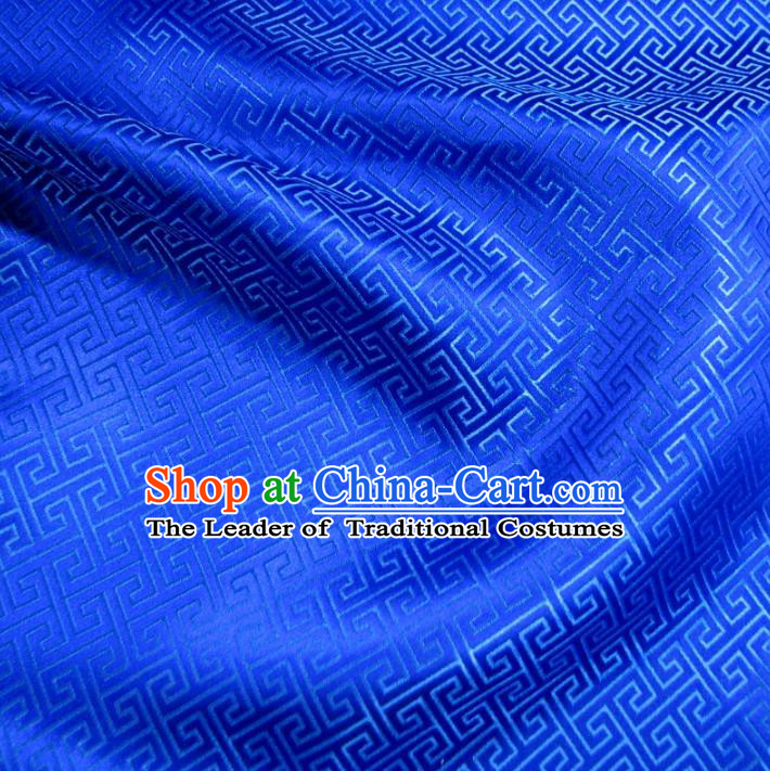 Chinese Traditional Palace Pattern Hanfu Blue Brocade Fabric Ancient Costume Tang Suit Cheongsam Material