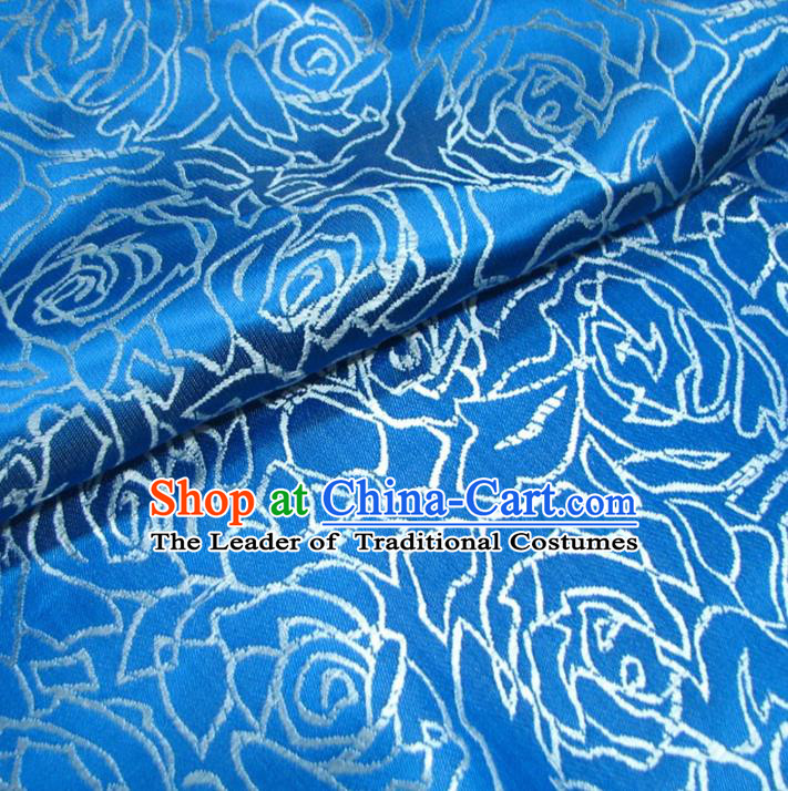 Chinese Traditional Palace Rose Pattern Hanfu Blue Brocade Fabric Ancient Costume Tang Suit Cheongsam Material
