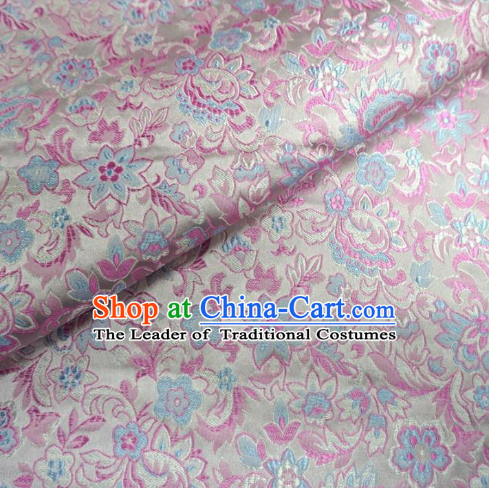 Chinese Traditional Palace Flowers Pattern Hanfu White Brocade Fabric Ancient Costume Tang Suit Cheongsam Material