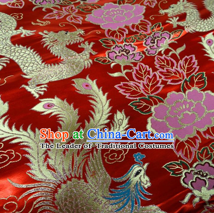 Chinese Traditional Palace Dragon Phoenix Pattern Hanfu Red Brocade Fabric Ancient Costume Tang Suit Cheongsam Material