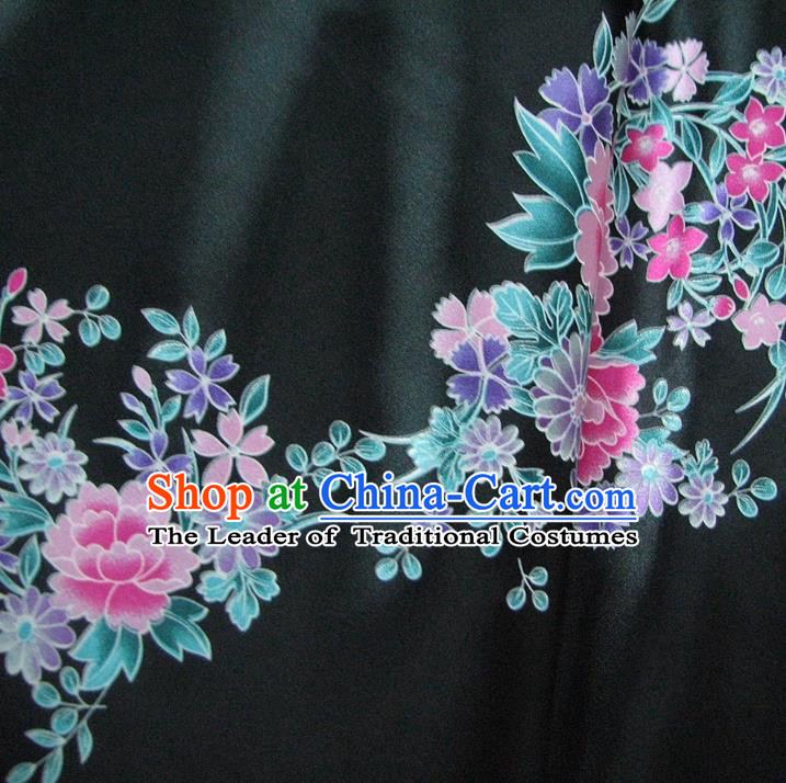Chinese Traditional Royal Palace Printing Peony Design Hanfu Black Brocade Fabric Ancient Costume Tang Suit Cheongsam Material