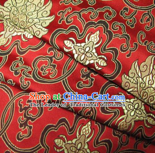 Chinese Traditional Royal Palace Pattern Design Mongolian Robe Hanfu Red Brocade Fabric Ancient Costume Tang Suit Cheongsam Material