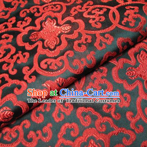 Chinese Traditional Royal Palace Pattern Design Mongolian Robe Hanfu Black Brocade Fabric Ancient Costume Tang Suit Cheongsam Material