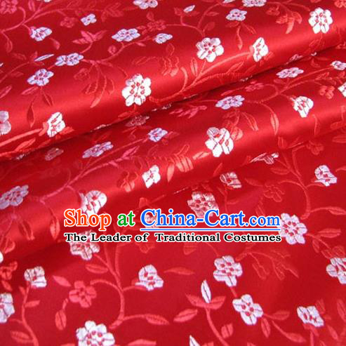Chinese Traditional Palace Plum Blossom Pattern Design Hanfu Red Brocade Fabric Ancient Costume Tang Suit Cheongsam Material