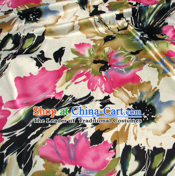 Chinese Traditional Royal Palace Printing Flowers Design Hanfu Black Brocade Fabric Ancient Costume Tang Suit Cheongsam Material