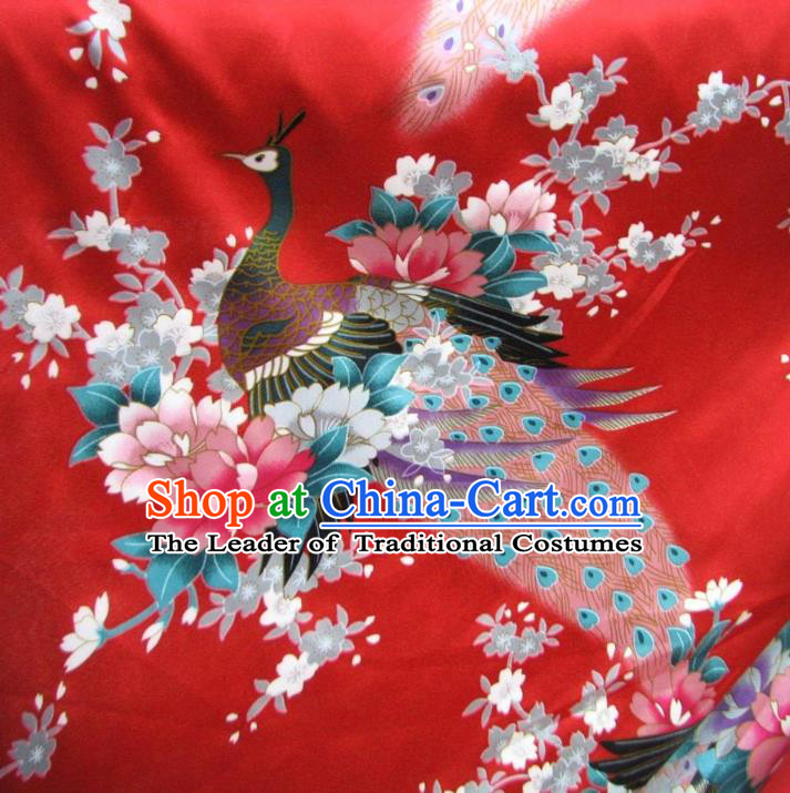 Chinese Traditional Royal Palace Printing Peacock Design Hanfu Red Brocade Fabric Ancient Costume Tang Suit Cheongsam Material