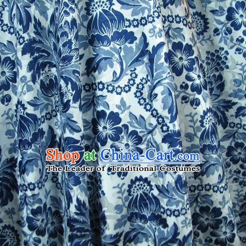 Chinese Traditional Palace Rich Pattern Design Hanfu White Brocade Fabric Ancient Costume Tang Suit Cheongsam Material
