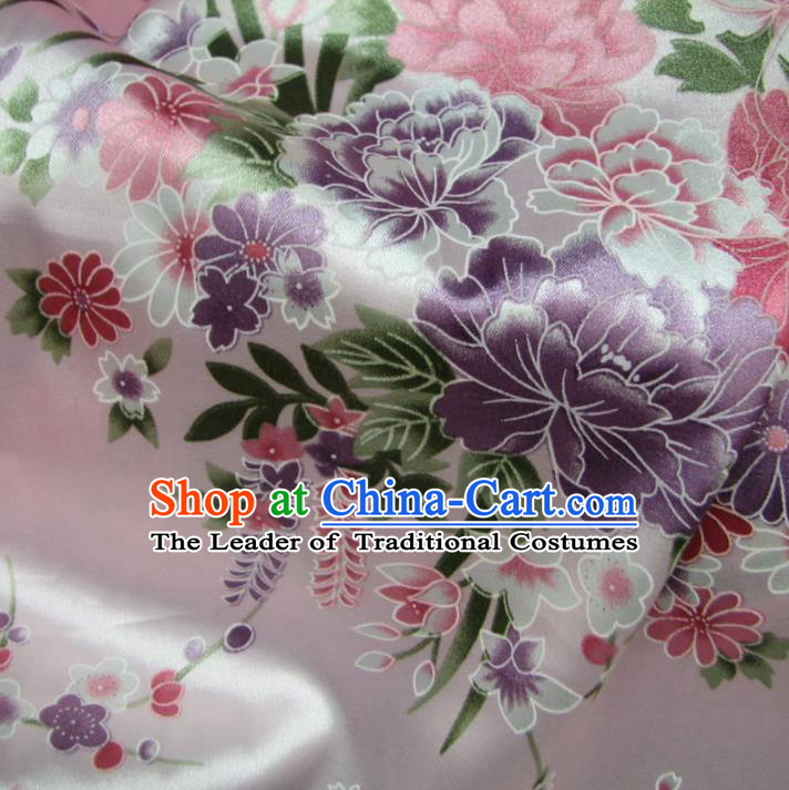 Chinese Traditional Palace Printing Peony Hanfu Pink Brocade Fabric Ancient Costume Tang Suit Cheongsam Material