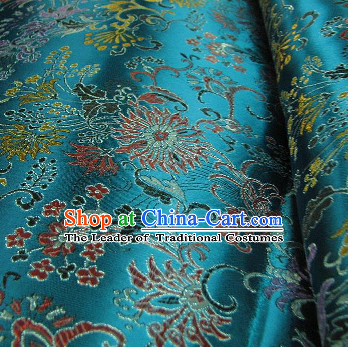Chinese Traditional Palace Pattern Design Hanfu Blue Brocade Fabric Ancient Costume Tang Suit Cheongsam Material